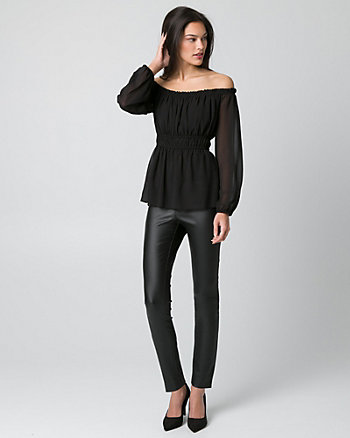 Chiffon Off-the-Shoulder Peasant Top