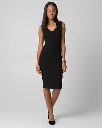 Piqué V-Neck Shift Dress