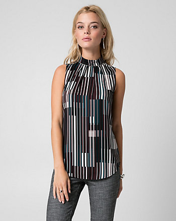 Stripe Crêpe de Chine Mock Neck Blouse
