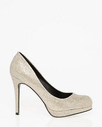 Glitter Mesh Almond Toe Platform Pump