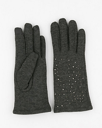 Jewel Embellished Knit Tech Gloves