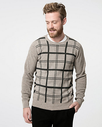 Check Print Yarn Crew Neck Sweater
