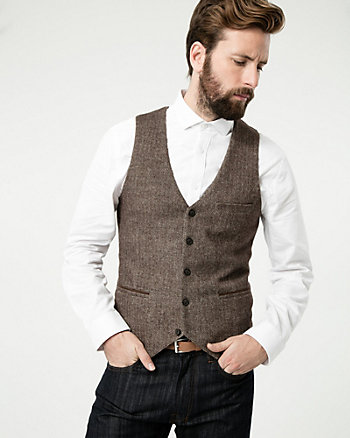 Tonal Herringbone Woven City Fit Vest