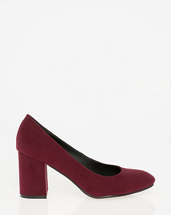 Suede-Like Square Toe Pump