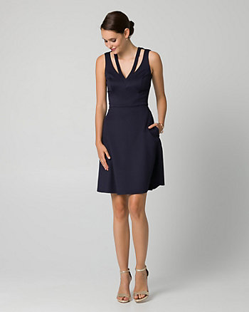 Scuba Knit Cutout V-Neck Dress
