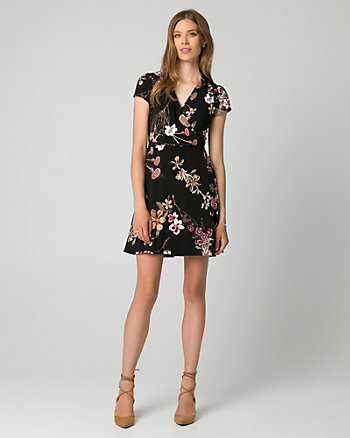Floral Print Knit Faux Wrap Dress
