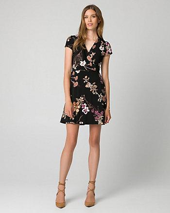 Floral Print Knit Faux Wrap Dress