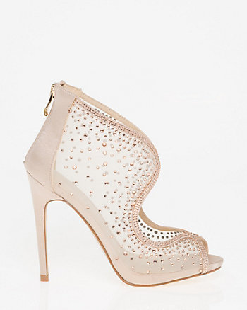 Jewel Embellished Mesh Platform Shootie