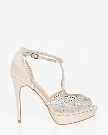 Embellished Satin & Mesh Criss-Cross Sandal