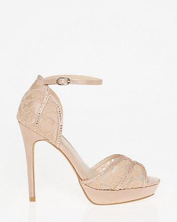 Lace & Satin Ankle Strap Sandal