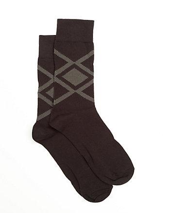 Diamond Print Cotton Blend Socks