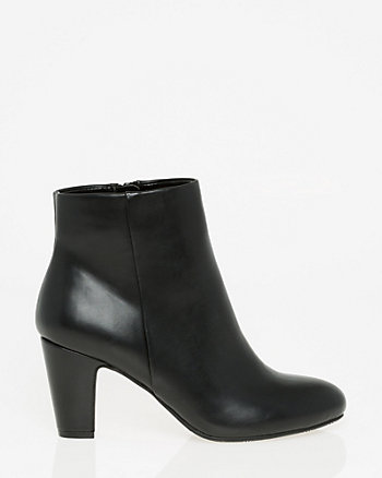 08ddc7a3600 Leather-Like Almond Toe Ankle Boot