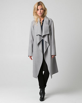 Cashmere-Like Open Collar Wrap Coat