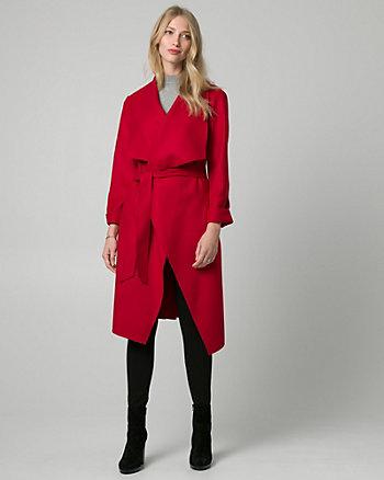 Cashmere-Like Open Collar Wrap Coat