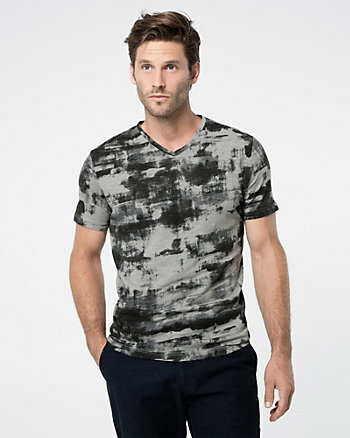 Abstract Print Slub V-Neck Tee