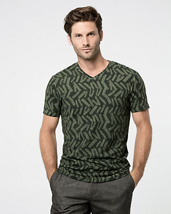 Novelty Print Cotton Blend V-Neck Tee