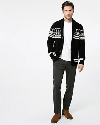 Fair Isle Cotton Shawl Collar Cardigan