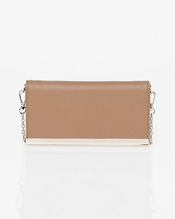 Leather-Like Wallet with Crossbody Strap