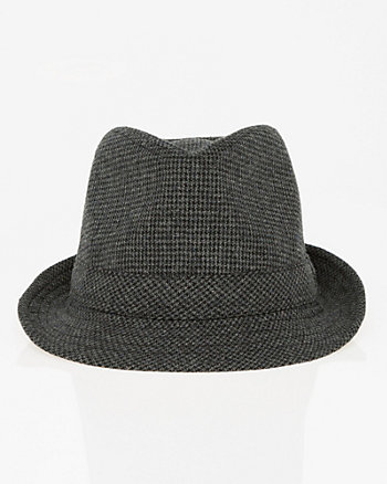 Houndstooth Wool Blend Fedora Hat