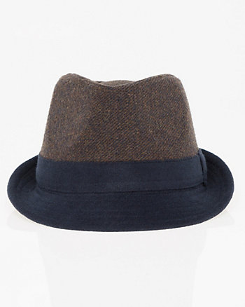 Colour Block Wool Blend Fedora Hat