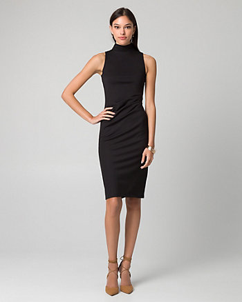 Ponte Mock Neck Pleated Dress