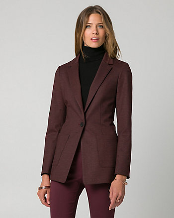 Herringbone Ponte Notch Collar Blazer