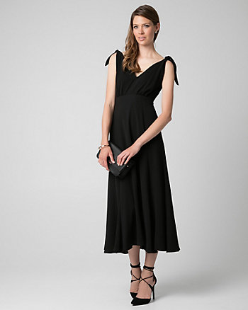 Crêpe V-Neck Maxi Dress