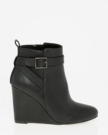 Faux Leather Round Toe Bootie