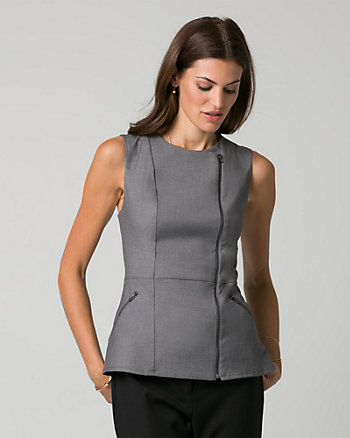 Gabardine Asymmetrical Front-Zip Top
