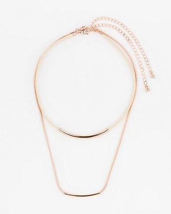 Collier ras-de-cou en chaîne et corde