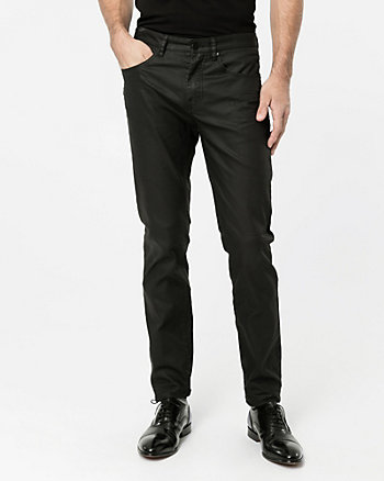 Coated Stretch Denim Slim Leg Pant