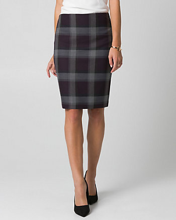 Check Print Viscose Blend Pencil Skirt