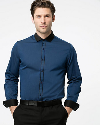 Tonal Cotton Twill Slim Fit Shirt