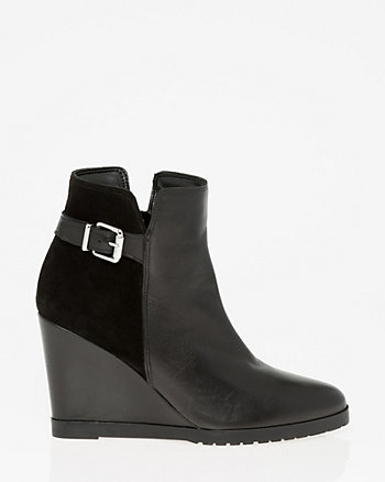 Leather & Suede Wedge Ankle Boot