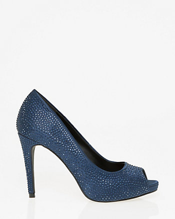 Jewel Embellished Satin Peep Toe Pump