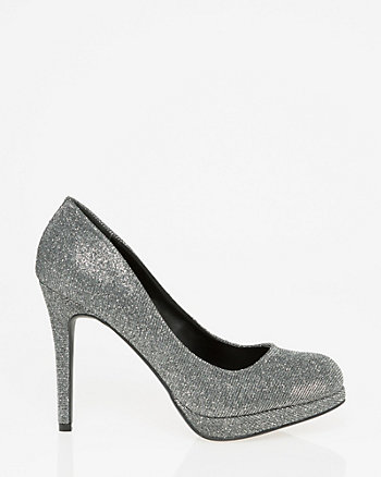 Metallic Almond Toe Platform Pump