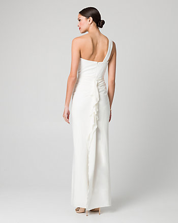 Knit One Shoulder Ruffle Gown