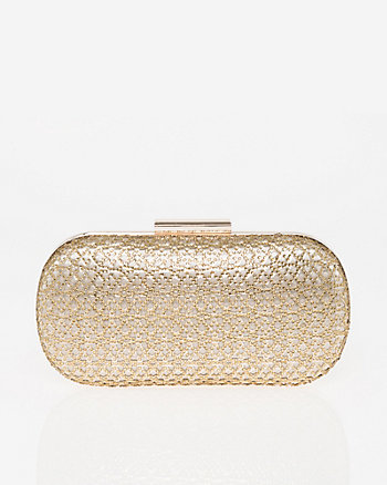 Jewel Embellished Metallic Foil Minaudière