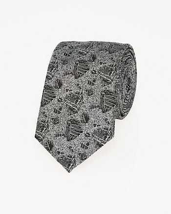 Abstract Print Microfibre Skinny Tie