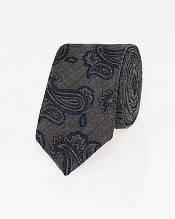 Paisley Print Viscose Blend Skinny Tie