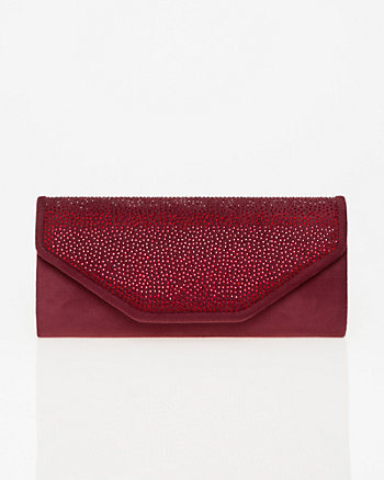 Embellished Faux Suede Flapover Clutch