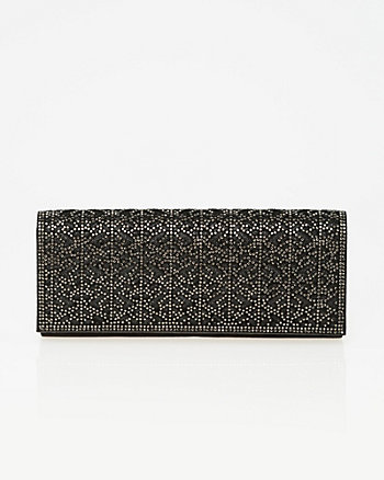 Embellished Suede-Like Flapover Clutch