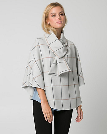 Grid Check Print Double Weave Poncho