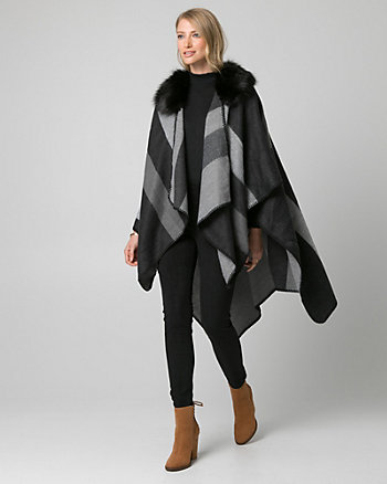 Stripe Faux Fur Poncho