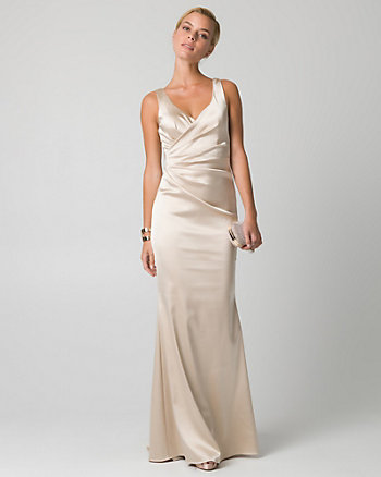 Satin V-Neck Pleated Gown