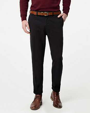 Brushed Cotton Twill Slim Leg Pant