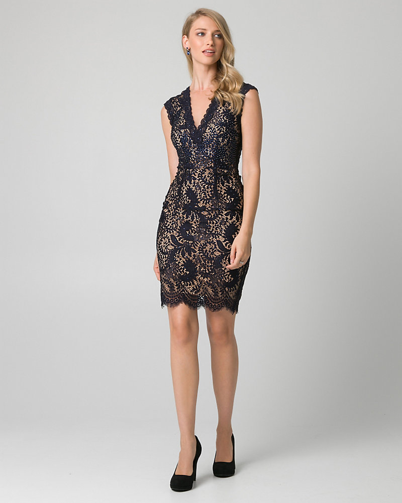 67a442bc143 Jewelled Lace Illusion Cocktail Dress