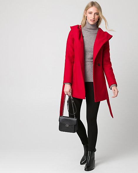 "Le Chateau - An asymmetrical zip-front, a cozy hood and cinched-waist bring effortless style to a warm cashmere-like coat. Cashmere-like. Asymmetrical zip-front, long sleeves. Hooded, belted. Semi-fitted, straight hem. 31"" from high shoulder point. 95% Polyester 2% Spandex 3% Rayon. Made in Canada."