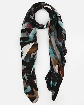 Abstract Print Knit Lightweight Scarf