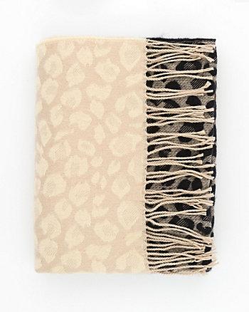 Leopard Print Woven Blanket Scarf